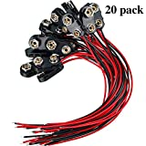 20 Pack 9 V Battery Clip Connector Long Cable Connection Hard Shell Black Red Connector (I Type)