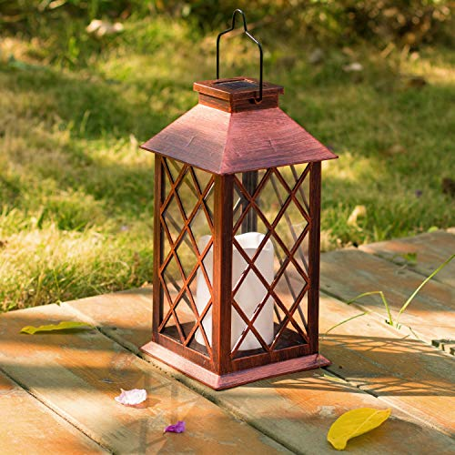 [Set of 2] TAKE ME Solar Lantern,Outdoor Garden Hanging Lantern-Waterproof LED Flickering Flameless Candle Mission Lights for Table,Outdoor,Party