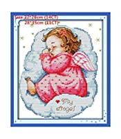 ラブリーエンジェル刺繍フロスクロスステッチキット刺繍刺繍は、刺繍-に布、アスリープエンジェルベイビー(2)、14Ct絵画クロスステッチプリントキャンバスを設定します。