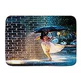 Wdoci Alfombra de baño Alfombras de Piso Alfombra Antideslizante Bailarina con Paraguas bajo la Lluvia(80cm x 60cm)