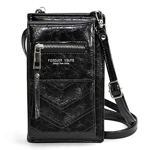 光沢感 ウォレット 一体型 スマホ ポーチ [プレックス] 財布 機能 ななめがけ ショルダー ポーチ ポシェット カード 大容量 ブラック