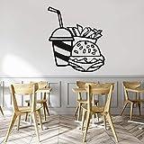 wZUN Calcomanías de Pared de Comida rápida Hamburguesa de Dibujos Animados Cola Papas Fritas Vinilo Restaurante Ventana Logo calcomanía decoración 50X43cm