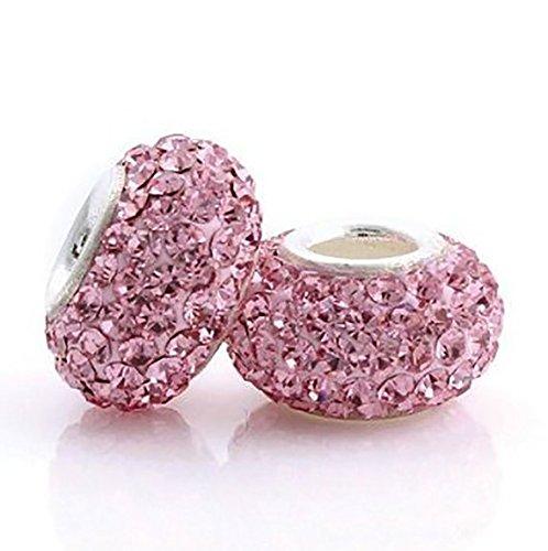 One Crystal Bead charm – per Pandora, Biagi, Chamilia e altri braccialetti europei simili 3 mm e placcato argento, colore: Pink, cod. MMZS0011