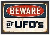 Vintage Retro Warnschild Ufo Kunstdruck Poster -ungerahmt-
