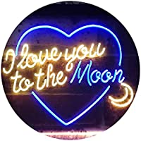 I Love You To The Moon Room Décor Dual Color LED看板 ネオンプレート サイン 標識 青色 + 黄色 300 x 210mm st6s32-i3492-by