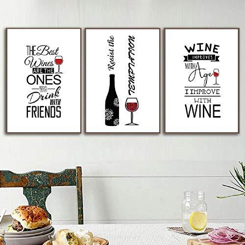 Póster de pintura de arte de vino tinto abstracto blanco negro, impresión de pared de cáliz, cuadros decorativos de arte de pared moderno para la decoración del hogar de la barra 50x70cmx3 sin marco