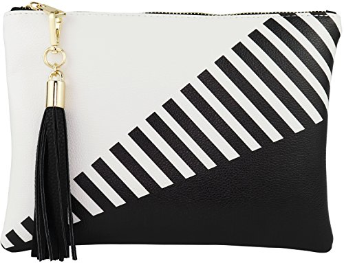 B BRENTANO Vegan Clutch Bag Pouch with Tassel Accent (Black)