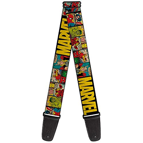 Buckle-Down Guitar Strap Marvel Retro Comic Panels Black Yellow 2 Inches Wide (GS-WAV042)
