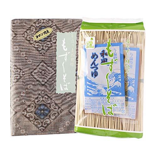 もずくそば セット500g×2 大島紬柄紙包装×4箱 株式会社ヨロン島 小麦粉に栄養分たっぷりのもずくを練りこみそば状にしました 水も添加物も不使用