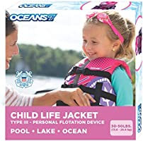 New & Improved Oceans7 US Coast Guard Approved, Child Life Jacket, Flex-Form Chest, Open-Sided Design, Type III Vest,...