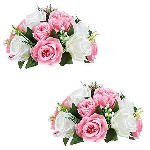 Sziqiqi 2 Piezas Bolas De Rosas, Bolas De Flores con Bandejas, Utilizadas para La Pérgola De Bodas Fiestas, Artículo De Uso para El Sitio De Boda Fiesta,2 Piezas