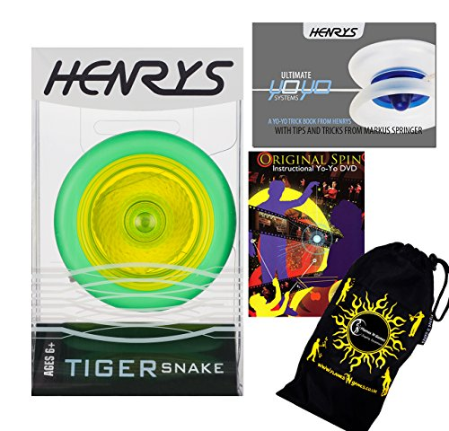 Henrys TIGER SNAKE YoYo (Vert/Jaune) Looping Trick (2A) Professionnelle Roulement Yo Yo + livre d'instruction de trucs + 75 Yo-Yo Tricks DVD (en anglais) + sac de voyage! Pro Yo-Yo pour les enfants et les adultes!