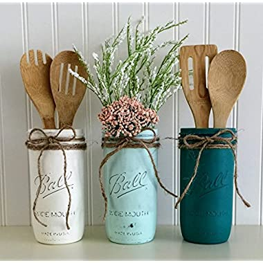 Mason Jar Utensil Holder Set - 3 Piece, White, Aqua, Teal, Kitchen Decor