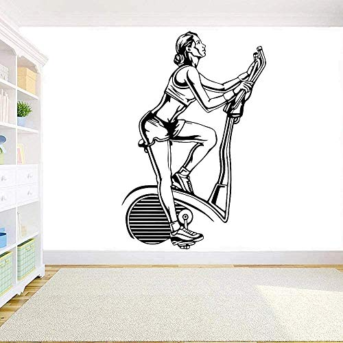 Pegatinas De Pared,Fitness Gym Bike Wall Decal Sports Motivación Fitness Girl Gym Home Room Art Deco Mural Sports 86X57Cm