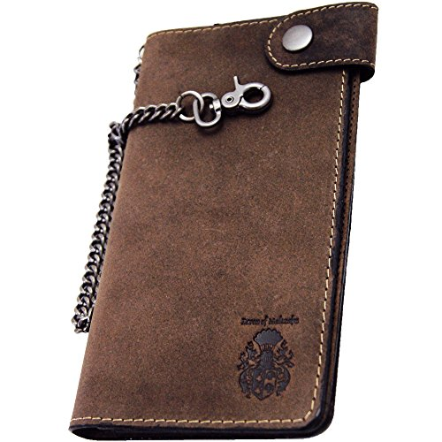 Baron of MALTZAHN Herrenbrieftasche Portemonnaie Ellison mit Kette aus braunem Leder