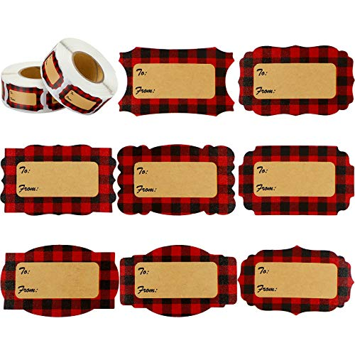 1000 Pieces Red Buffalo Plaid Natural Kraft Christmas Tag Labels 8 Styles Self Adhesive Decorative Christmas Label Stickers for Thanksgiving Holiday Wedding Party Arts, 2 x 1.2 Inches