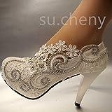 JINGXINSTORE 8 cm/3 tacchi bianchi in pizzo di cristallo, scarpe da sposa, scarpe da sposa, scarpe da sposa con pompa, taglia 5-12, colore bianco, US 9.