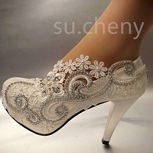 Tallone jingxinstore 8cm/3Bianco Cristallo pizzo pompe scarpe da matrimonio sposa taglia 5–12, bianco, 6 US