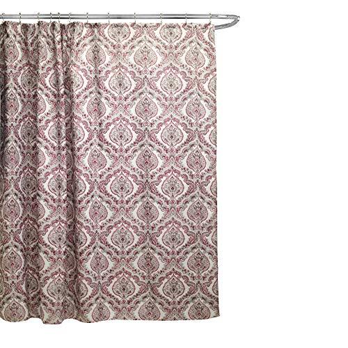 "Linen Store Fabric Canvas Shower Curtain, 70""x70"", Rose, Burgundy Paisley Damask Design"