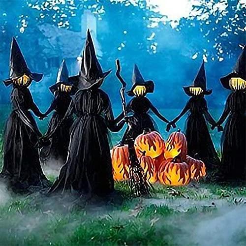 ADAGG Brujas iluminadas con estacas decoraciones de Halloween al aire libre, visita a brujas iluminadas con estacas, control de voz Bruja de sonido brillante para fiestas de casa encantada