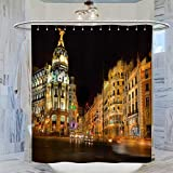 DRAGON VINES Madrid Skyline Shower Curtain, 72x72inch(183x183cm) Waterproof Bathroom Curtain with 12 Plastic Hooks Washable Bath Curtain