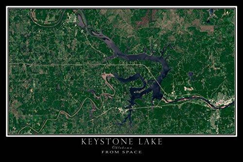 Terra Prints The Keystone Lake Oklahoma Satellite Poster Map L 24 x 36 inch