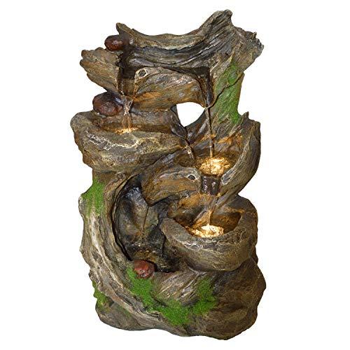 AMUR Gartenbrunnen Brunnen Zierbrunnen Zimmerbrunnen Springbrunnen Brunnen 230V Wasserfall Wasserspiel für Garten, Gartenteich, Terrasse, Balkon Sehr Dekorativ (MÄRCHENWALD mit LED-Licht)