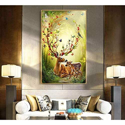 jijimidianzi GFJJTRB,Pintura de la Lona de la decoración de la Pared Ciervos navideños Resumen Minimalista decoración de la Pared del hogar Pintura sin Marco del arte-50x70cm