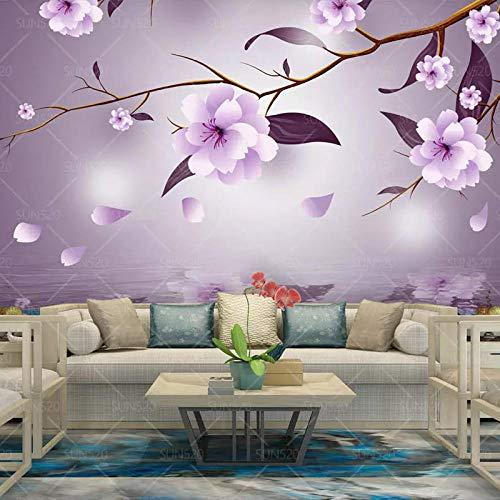 XHXI 3D Wallpaper Europäisches Großes Wandbild Wohnzimmer Schlafzimmer TV Hintergrund Wallpaper Film Wand Lila Blume Magnolie fototapete 3d Tapete effekt Vlies wandbild Schlafzimmer-350cm×256cm