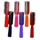 "Luxxii (6 Pack) 6"" Plastic Color Handle Nylon Bristle Brush Hair Pocket Comb Designed for All Hair Types (Assort Color)"