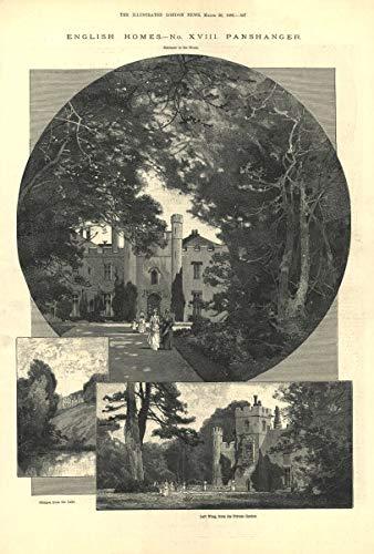 Panshanger House. Entrance Left Wing Garden. Hertford. Welwyn Garden City - 1889 - Old Antique Vintage Print - Art Picture Prints of Hertfordshire