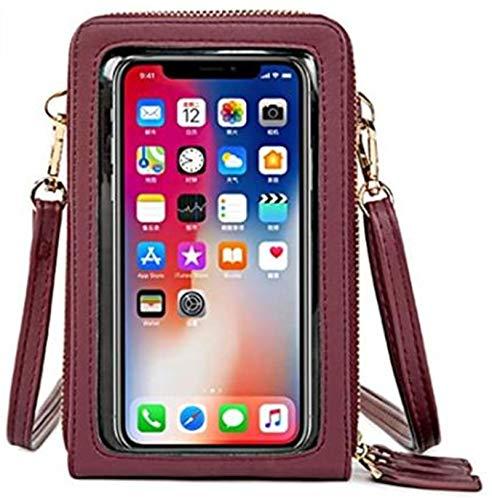Bolso bandolera para teléfono móvil con pantalla táctil de menos de 6,5 pulgadas, borgoña (Rojo) - YDYG-TJKTSQ-13
