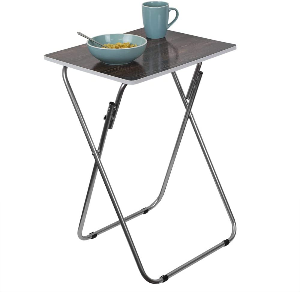 Home Basics Multi-Purpose Sturdy Durable Decorative, Bedside, Laptop, Snack, Cocktails Table Tray Desk, Brown