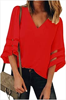 S-Fly Women 3/4 Sleeve V Neck Casual Top Bell Sleeve Loose Shirts Blouse Tops