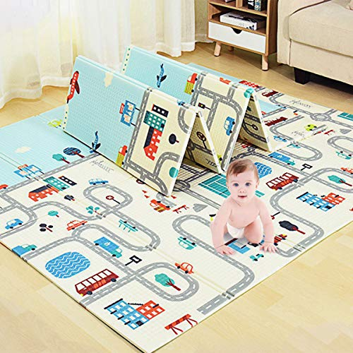 Lovinouse Premium Folding Baby Play Mat with 5 Cars 79 x 71 inch NonToxic Foldable Playmat Reversible Crawling Mat Waterproof Thick Foam for Toddlers Kids
