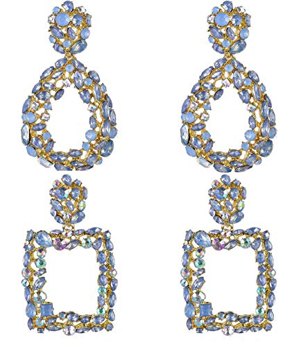 Anlsen 2 Pairs Statement Drop Earrings for Women Colorful Cubic Zirconia Big Rhinestone Crystal Dangle Earrings Set