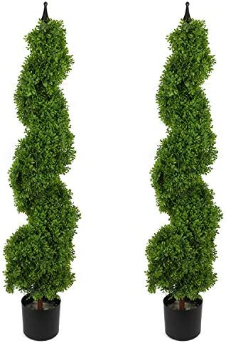 Houseables Artificial Boxwood Topiary Fake Spiral Trees 2 Pack 4 Plastic Plants Outdoor Porch product image