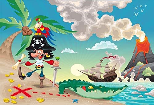 Leowefowa 2,2x1,5m Vinilo Mar Telon de Fondo Patrón de Dibujos Animados Playa de Arena Tropical Barco Pirata Sunny Sky Fondos para Fotografia Party Infantil Photo Studio Props Photo Booth