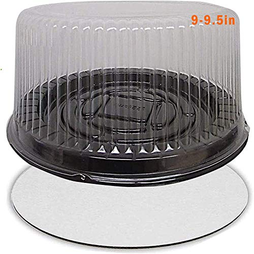 "9-10"" Plastic Disposable Cake Containers Carriers with Dome Lids and Cake Boards - 5 Round Cake Carriers for Transport 