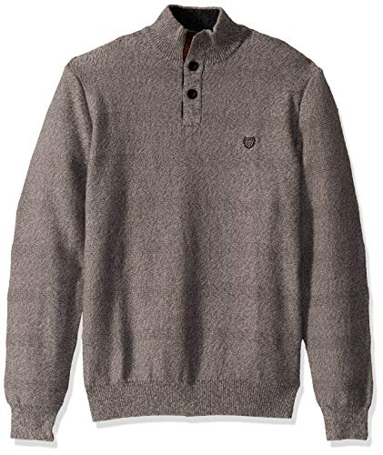 Chaps Men's Classic Fit Button Mock Sweater, Slate Twist, XXL