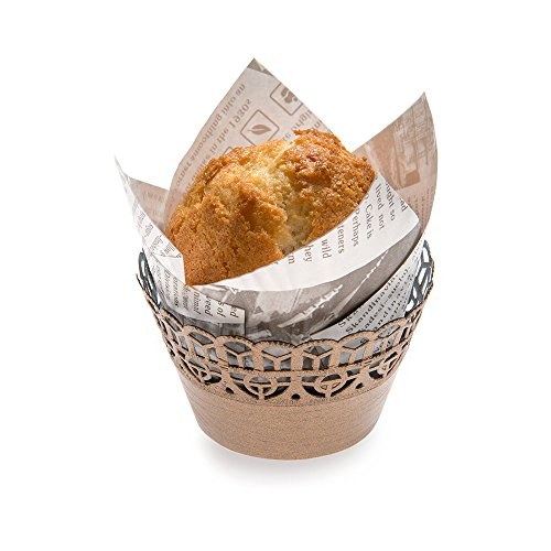"Paper Cupcake Wrap, Muffin Wrap - Bellissimo Paper - Cocoa Brown - 2.1"" - 200ct Box - Restaurantware"