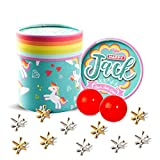 Happy Jack Jacks Game for Kids: Jacks Game with 2 Balls, Retro,Vintage, Classic Jack Stones Gold and Silver Metal Jacks, 2 Bouncy Balls with Instructions,for Kids and Adults