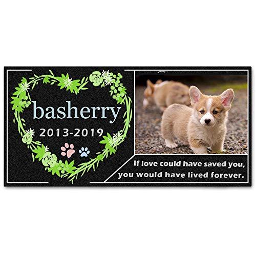 BASHERRY出品 ペット墓石 メモリアルプレート オーダーメイド HD写真 室内外兼用 文字 犬 猫 通用飾り 仏壇 ミニ 位牌 小型 HD写真記念石 犬用メモリアル用品 (300*150MM(厚さ15mm))
