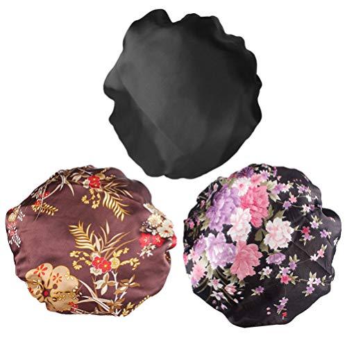 Minkissy 3Pcs Bonnet de Nuit Chapeau de Couchage Bonnet de Cheveux Bonnet de Sommeil en Satin Bonnet de Perte de Cheveux pour Enfants Salon Sommeil Spa