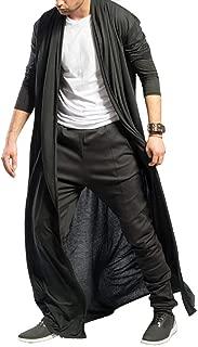 Men's Ruffle Shawl Collar Cardigan Jackets Open Front Outerwear Cotton Long Drape Cape Poncho Trench Coat