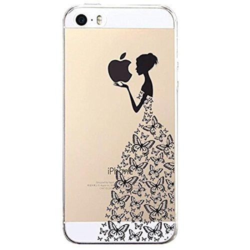 JIAXIUFEN Neue Modelle TPU Silikon Schutz Handy Hülle Case Tasche Etui Bumper für Apple iPhone 5 5S SE - Henna Series Black Apple Butterfly Girl