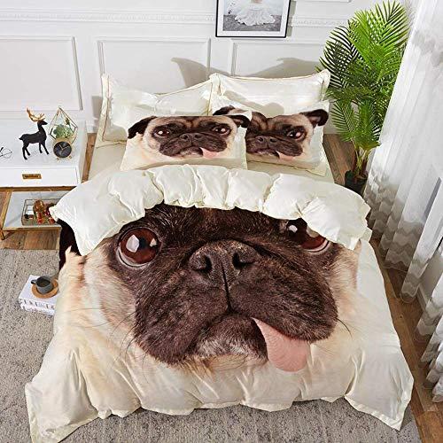 ropa de cama - Juego de funda nórdica, Pug, Retrato de un perro molesto con su lengua Pug con ojos tristes gigantes Pet Animal Pho, Funda de edredón de microfibra hipoalergénica con 2 fundas de almoha