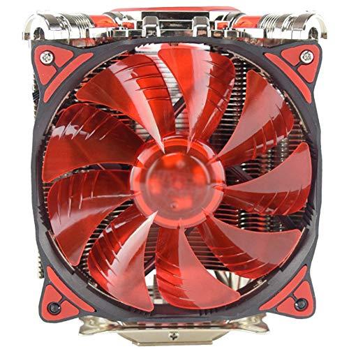 PLAIPH Lüfter, CPU-Kühler 5 Kupferrohr LED Intelligente Dual-Lüfter-Temperaturüberwachung Geräuscharmer CPU-Wind