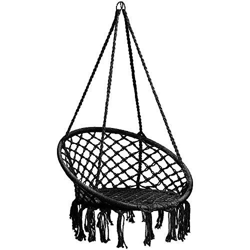 CCTRO Hammock Chair Macrame Swing,Boho Style Rattan Chair Hanging Macrame Hammock Swing Chairs for...