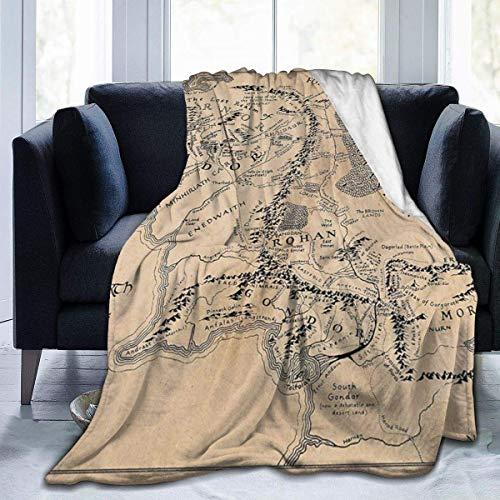 BXBX Mapa de la Tierra Media, Mantas de Franela Ultra Suaves y acogedoras Vintage, Manta de Microfibra Ligera para sofá, Manta de Cama de Microfibra Ligera